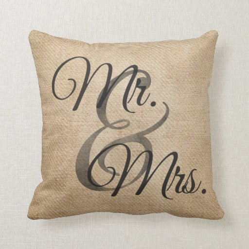 Mr And Mrs Burlap Wedding Personalized Pillow