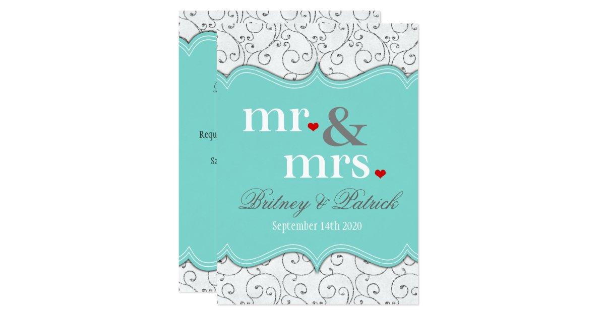 Mr And Mrs Wedding Invitation Wording: Mr & Mrs Blue Wedding Invitations