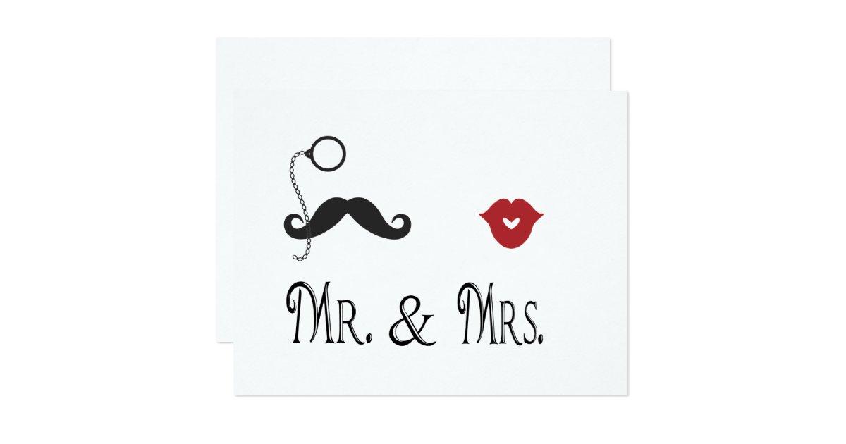 Mr And Mrs Wedding Invitation Wording: Mr. & Mrs. Mustache & Lips Wedding Invitations