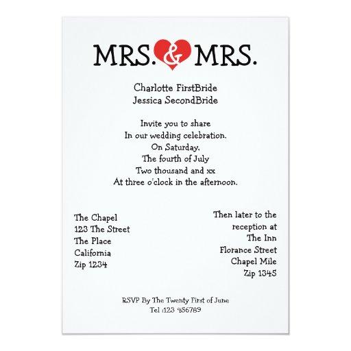 Mrs And Mrs Love Heart Lesbian Wedding 5x7 Paper