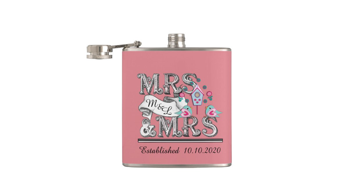 Mrs Mrs Wedding Gifts: Mrs And Mrs Personalized Lesbian Wedding Gifts Flask