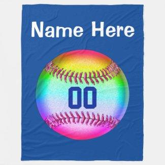 Multicolored Softball Fleece Blanket PERSONALIZED