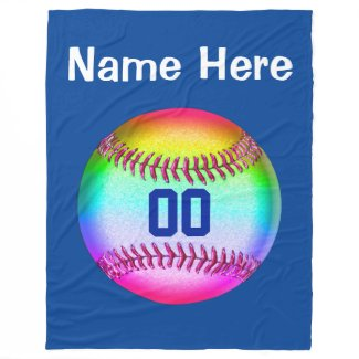 Multicolored Softball Fleece Blanket PERSONALIZED