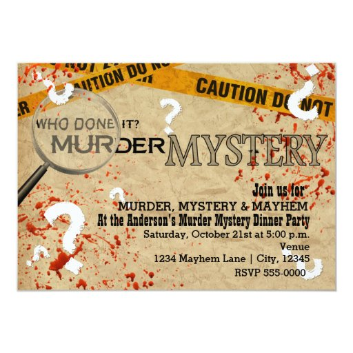 Murder Mystery Dinner Sheet Free: Murder Mystery Dinner Birthday Party Invitations