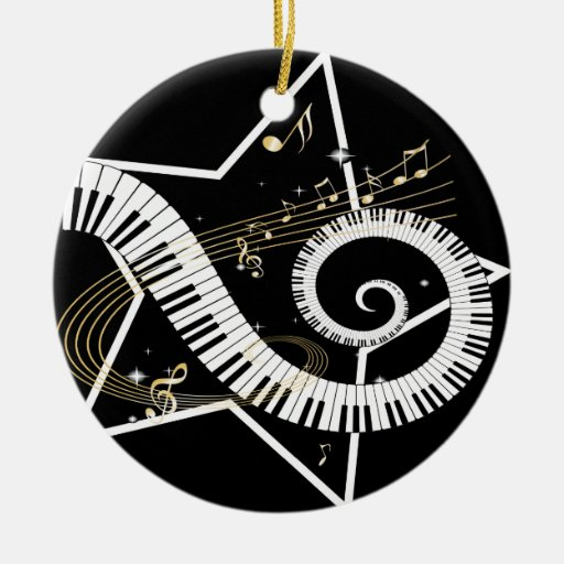 Musical Star golden notes Double-Sided Ceramic Round ...