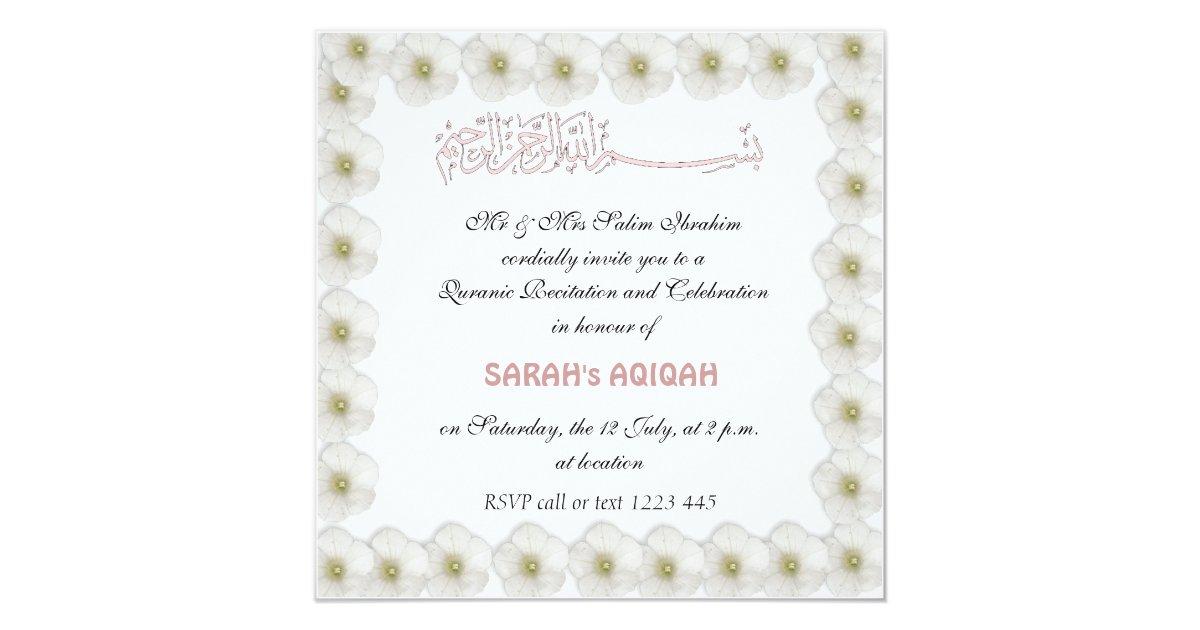 Muslim Baby Girl Aqiqah Card