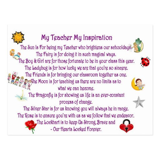 My Teacher My Inspiration Postcard