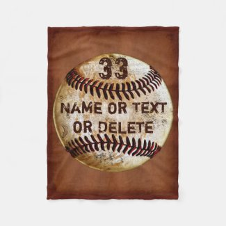 Name, Jersey Number Cool Baseball Blanket, 3 Sizes Fleece Blanket