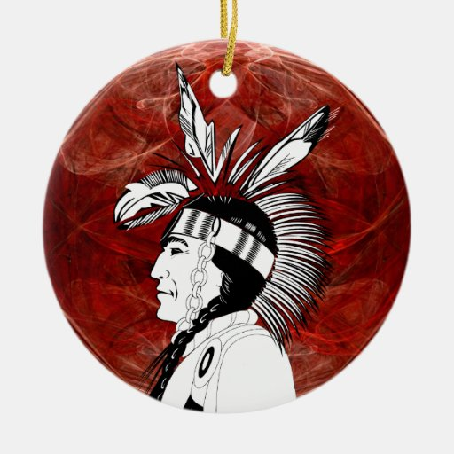 Native American Indian Profile Double-Sided Ceramic Round ...