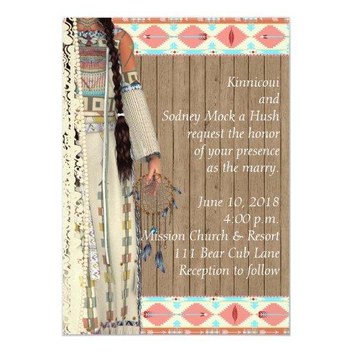 Native American Wedding Invitations: Native American Wedding Invitation With Bride