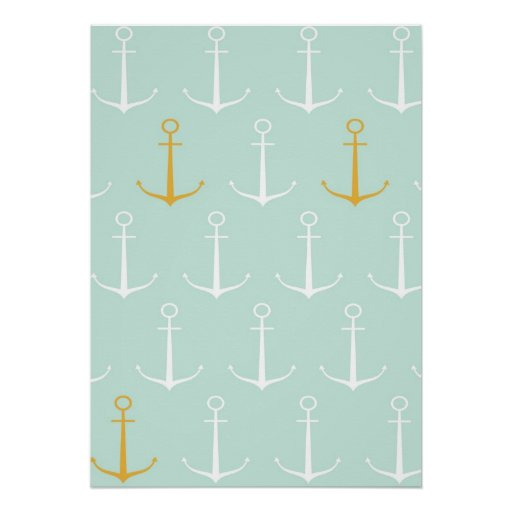 Nautical anchors preppy girly blue anchor pattern poster ...