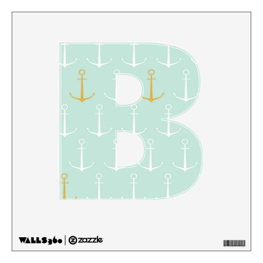 Nautical anchors preppy girly blue anchor pattern wall ...