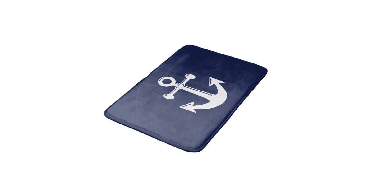 Nautical Bath Mat Navy Blue And White Anchor Zazzle