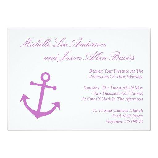 "Marine Wedding Invitations: Nautical Boat Anchor Wedding Invitation (Plum) 5"" X 7"