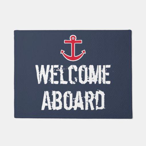 Nautical Boat Sailing Welcome Aboard Doormat Rug Zazzle