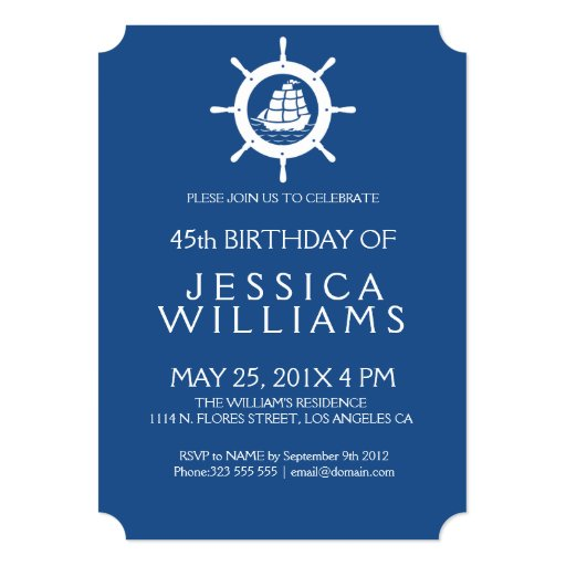 Birthday Party Yacht: Nautical Boat Wheel Birthday Party Invitation