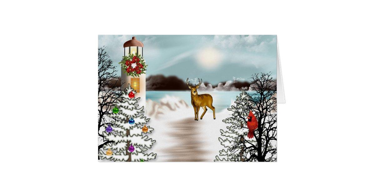 Nautical Christmas Card With Lighthouse Zazzle