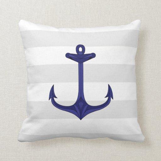 Nautical Navy Blue Anchor Gray White Stripes Throw Pillow