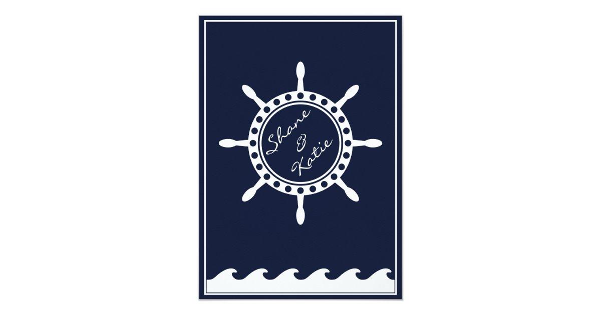 Navy Blue And White Wedding Invitations: Nautical Navy Blue And White Wedding Invitations