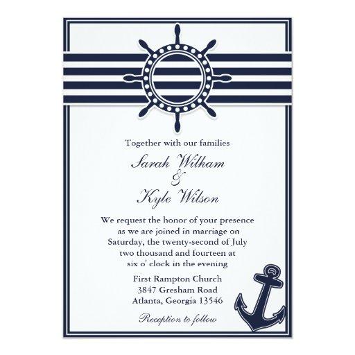Nautical Themed Wedding Invitations: Nautical Navy Blue Swallows Wedding Invitation
