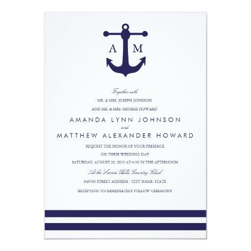 Sailboat Wedding Invitations: Nautical Navy Wedding Invitation