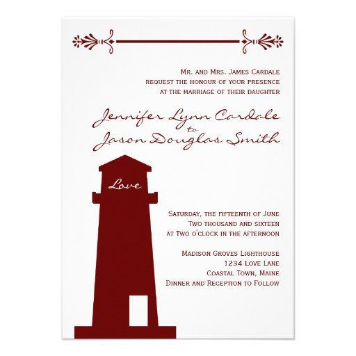 "Nautical Red Lighthouse Wedding Venue Invitations 4.5"" X 6"