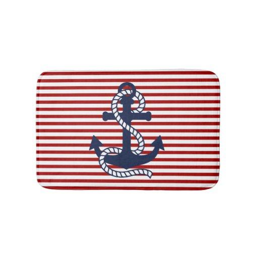 Nautical Red White Stripes And Blue Anchor Bathroom Mat