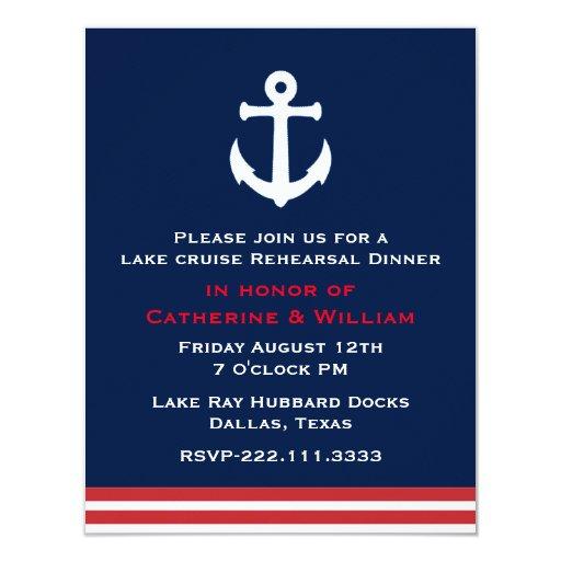 Nautical Themed Wedding Invitations: Nautical Themed Wedding Rehearsal Dinner 4.25x5.5 Paper