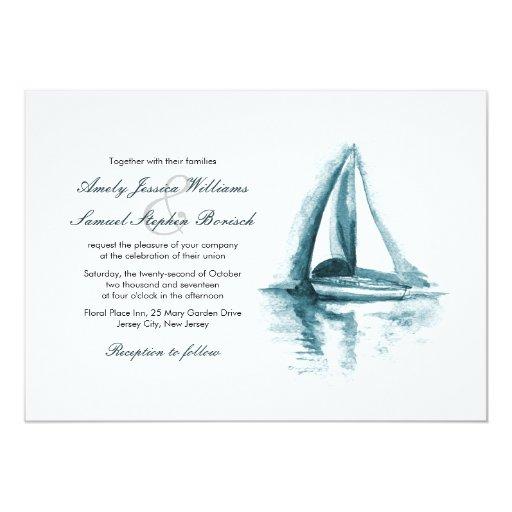 Sailboat Wedding Invitations: Nautical Watercolor Boat Wedding Invitation
