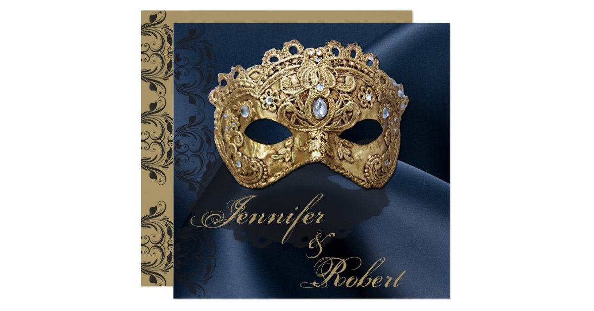 Masquerade Wedding Invitations: Navy And Gold Masquerade Wedding Invitation