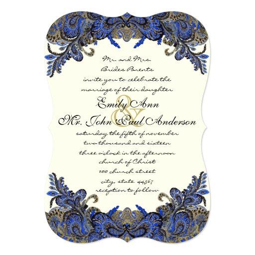 Navy Blue And Ivory Wedding Invitations: Navy And Gold Peacock Ivory Wedding Invitation