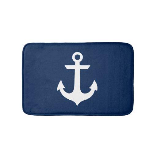 Navy Blue Anchor Pattern Bathroom Mat   Zazzle