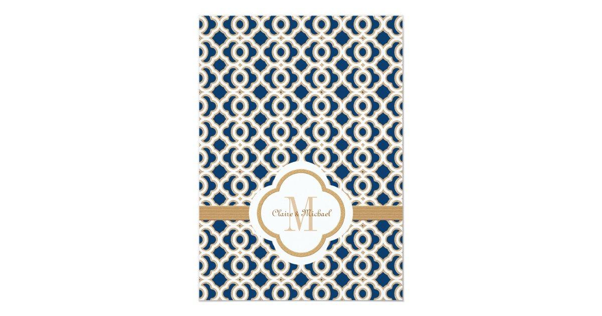 Navy Blue And Gold Wedding Invitations: Navy Blue And Gold Moroccan Wedding Invitations