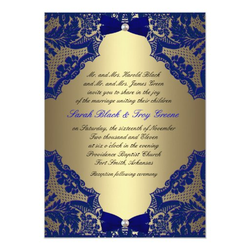 Gold And Blue Wedding Invitations: Navy Blue And Gold Wedding Invitation