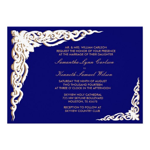 "Navy Blue And Gold Wedding Invitations: Navy Blue And Gold Wedding Invitations 5"" X 7"" Invitation"