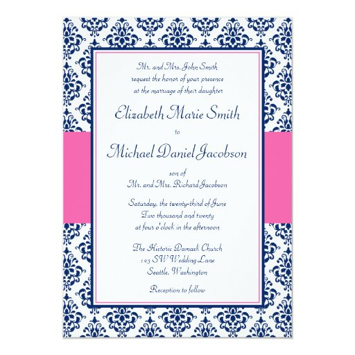 Pink And Navy Blue Wedding Invitations: Navy Blue And Pink Damask Wedding Invitations