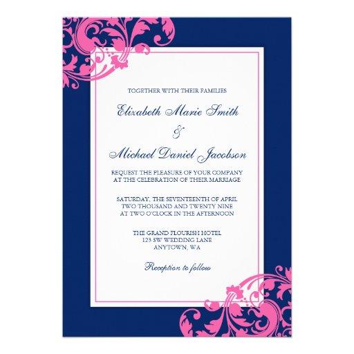 Pink And Navy Blue Wedding Invitations: Navy Blue And Pink Flourish Swirls Wedding 5x7 Paper