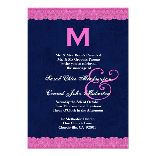 Pink And Navy Blue Wedding Invitations: Navy Blue And Pink Lace Monogram Wedding G112 5x7 Paper