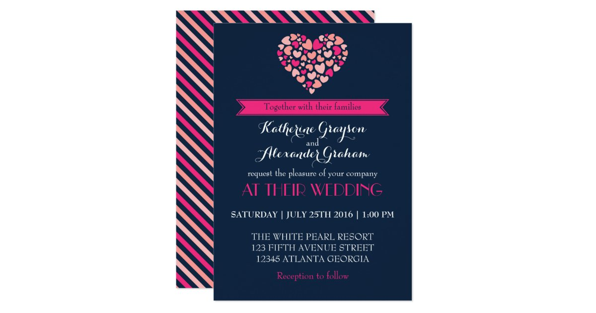Pink And Navy Blue Wedding Invitations: Navy Blue And Pink Love Heart Wedding Invitation