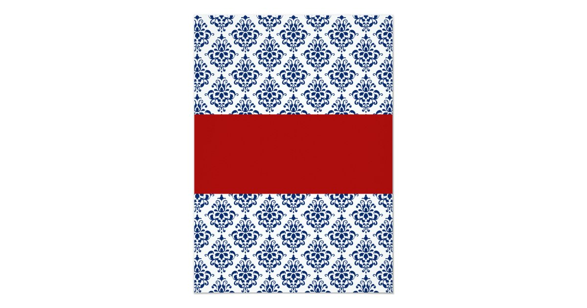Red White And Blue Wedding Invitations: Navy Blue And Red Damask Wedding Invitations