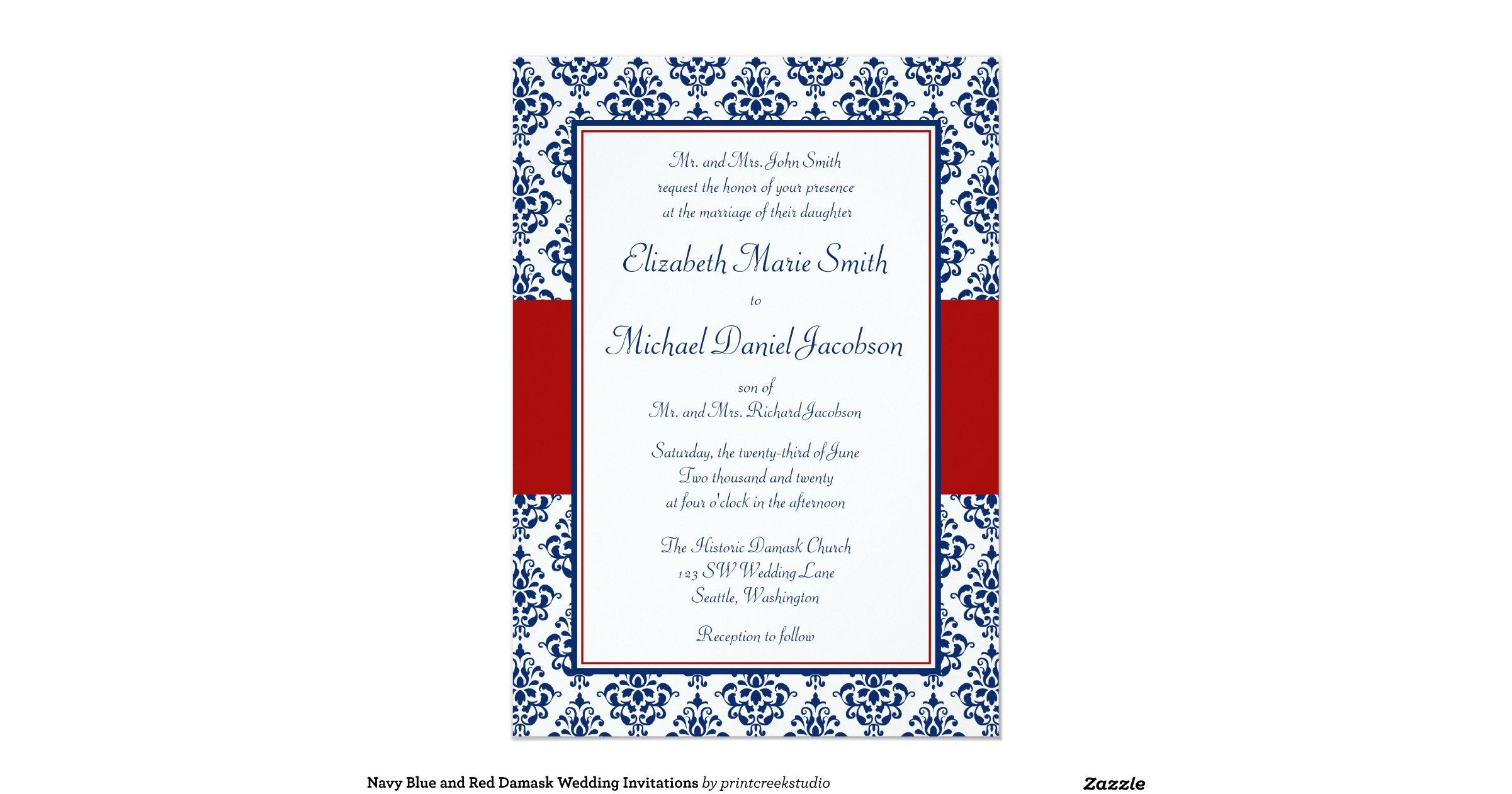 Navy Blue And White Wedding Invitations: Navy_blue_and_red_damask_wedding_invitations