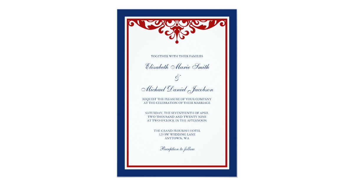 Red White And Blue Wedding Invitations: Navy Blue And Red Flourish Wedding Card