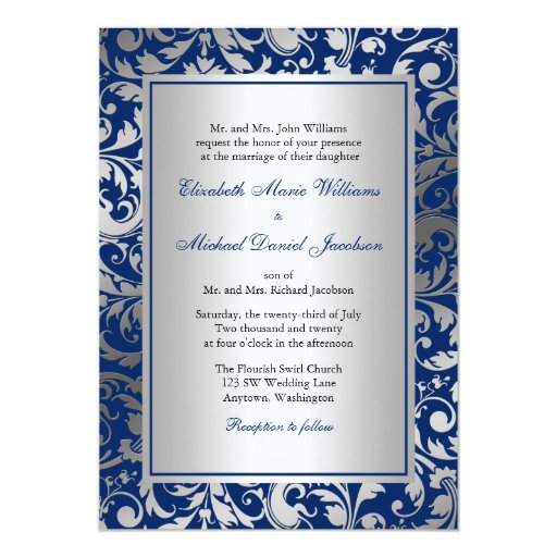 Wedding Invitations Blue And Silver: Navy Blue And Silver Damask Swirls Wedding 5x7 Paper