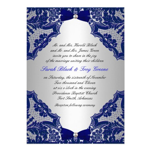 """Wedding Invitations Blue And Silver: Navy Blue And Silver Wedding Invitation 5"""" X 7"""" Invitation"""