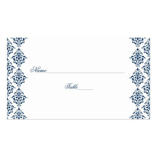 Navy blue and white damask wedding place cards double for Double sided place card template