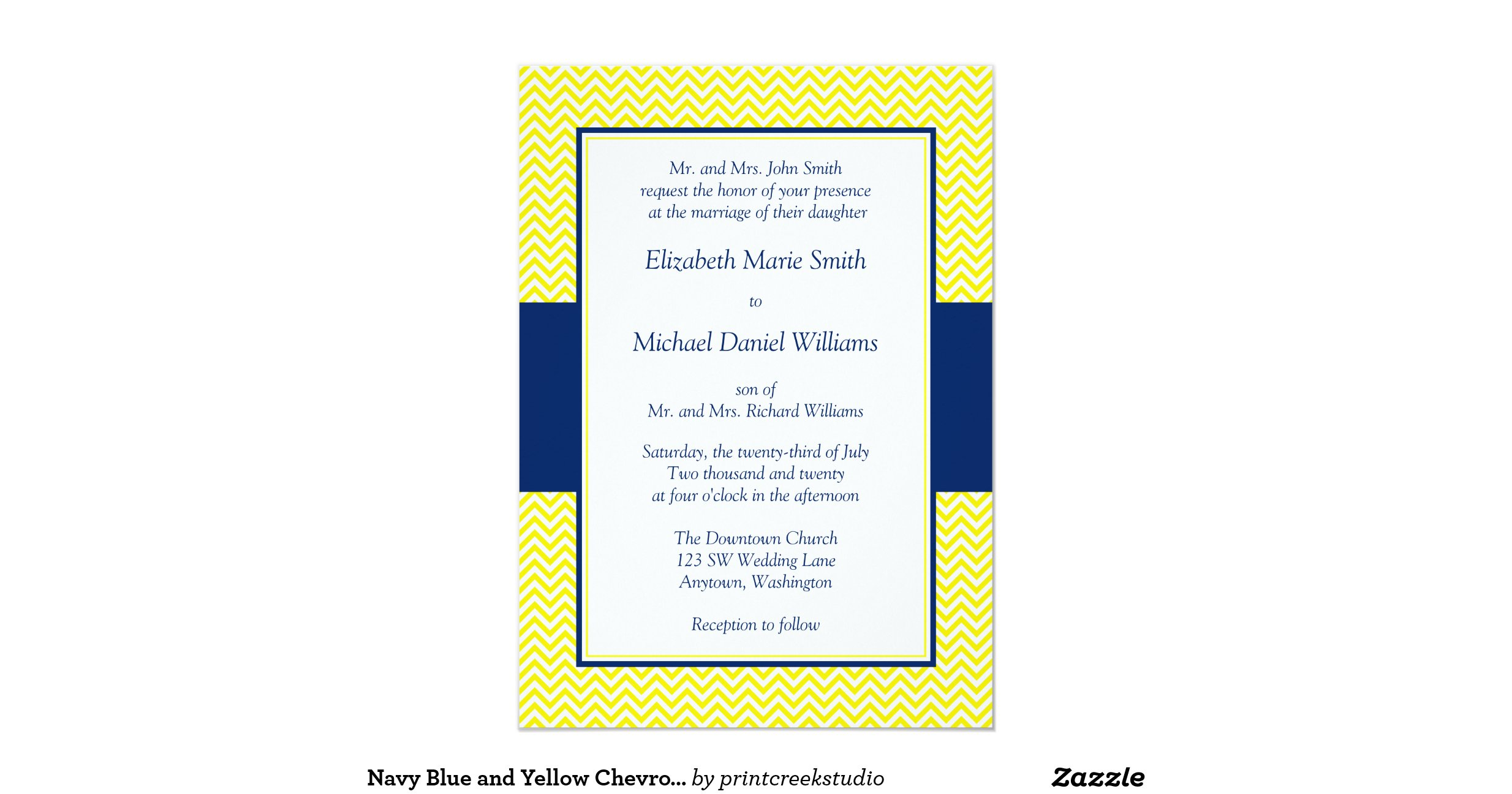 Blue And Yellow Wedding Invitations: Navy_blue_and_yellow_chevron_wedding_invitations