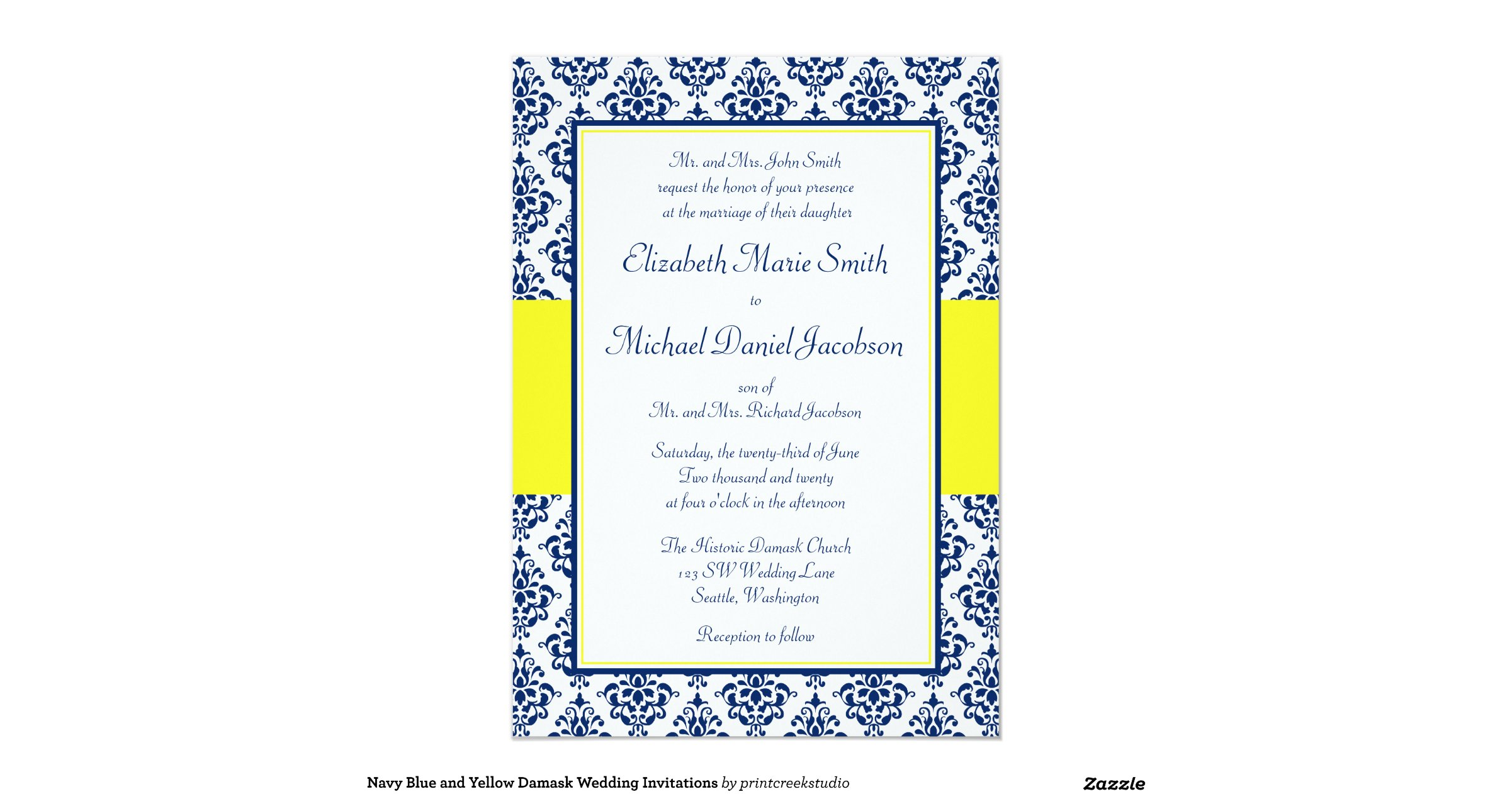 Blue And Yellow Wedding Invitations: Navy_blue_and_yellow_damask_wedding_invitations