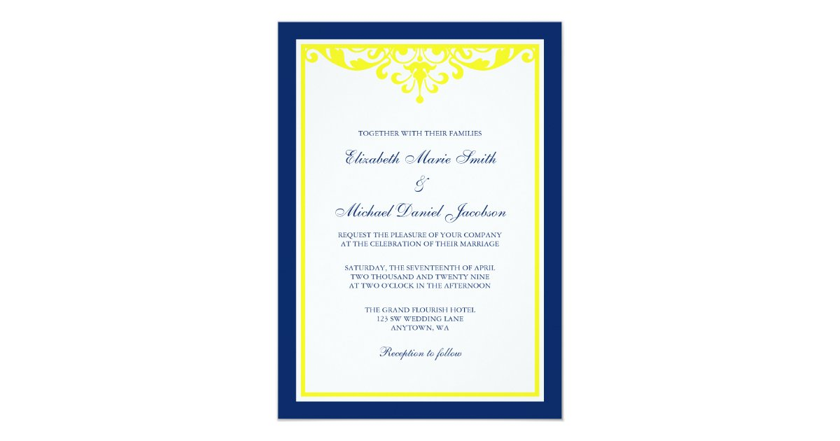 Blue And Yellow Wedding Invitations: Navy Blue And Yellow Flourish Wedding Invitation