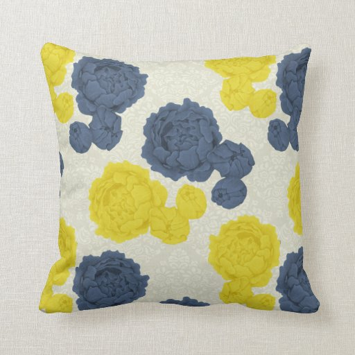 Navy Blue And Yellow Vintage Floral Throw Cushion Zazzle