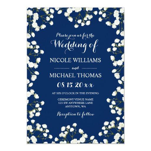 Baby Blue Wedding Invitations: Navy Blue Baby's Breath Border Wedding Invitations